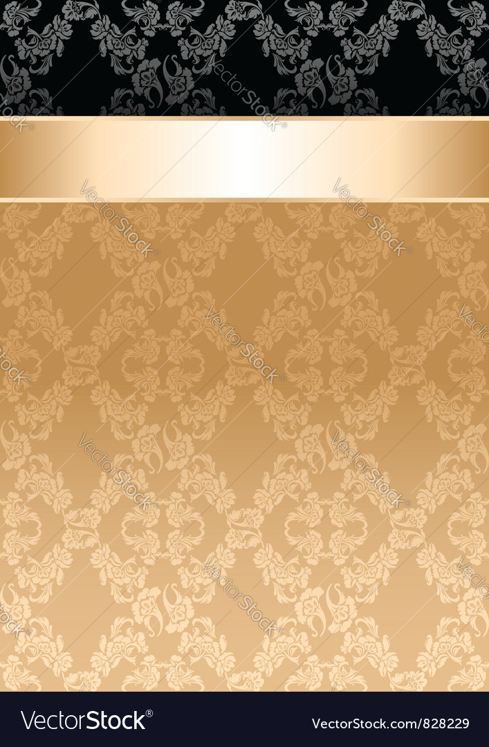 Background gold ribbon seamless floral pattern vector