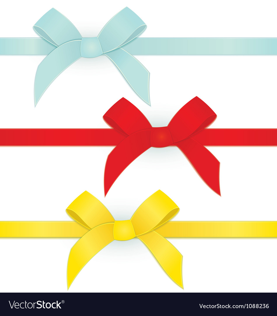 Ribbon three bows vector