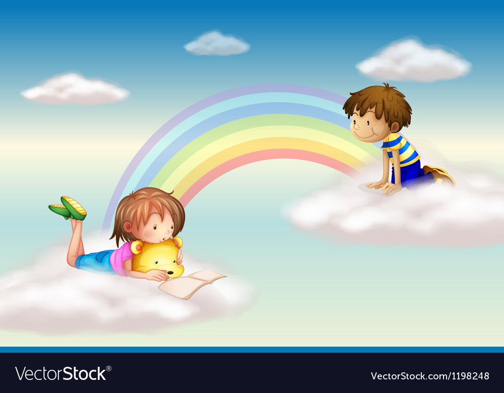 A rainbow with kids vector