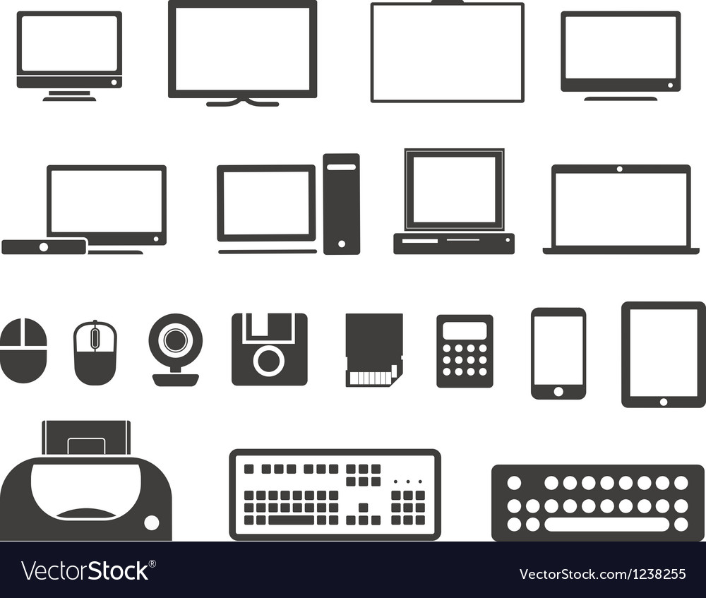 Electronuic equipment icons collection vector