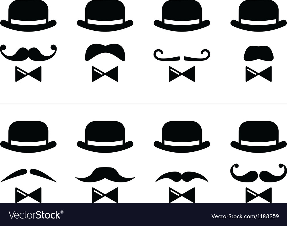 Gentleman icon - man with moustache and bow tie vector