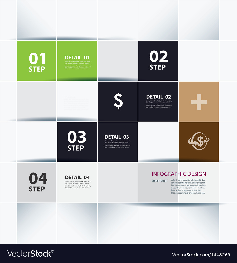 Free business step paper lines and numbers vector