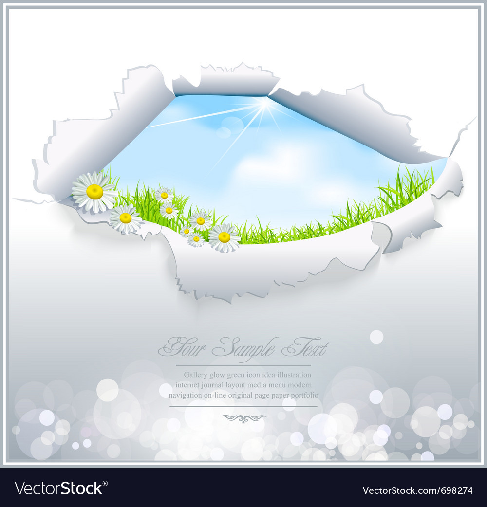 Blue sky in torn paper vector