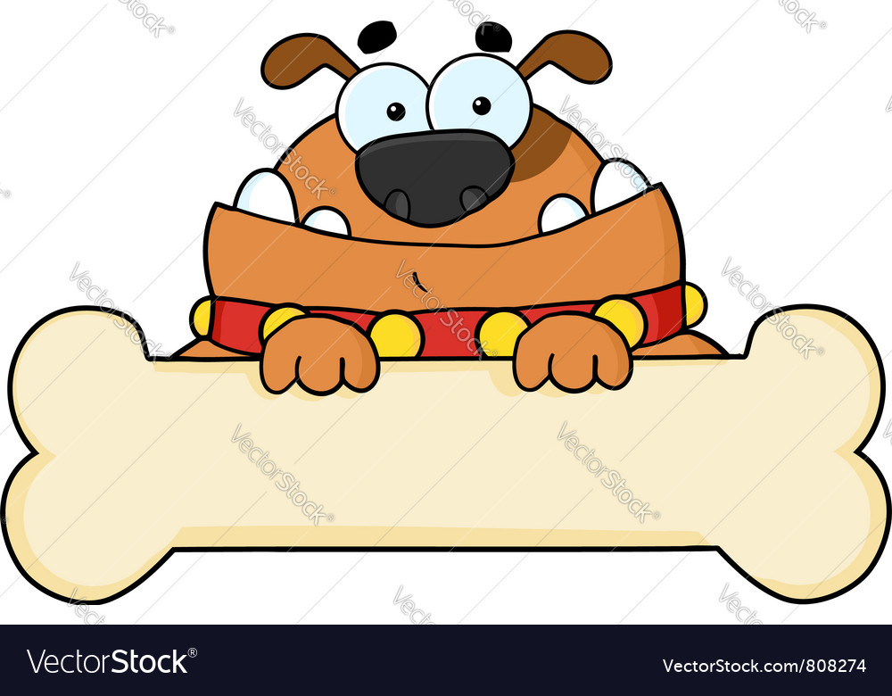 Brown dog over a blank bone sign vector