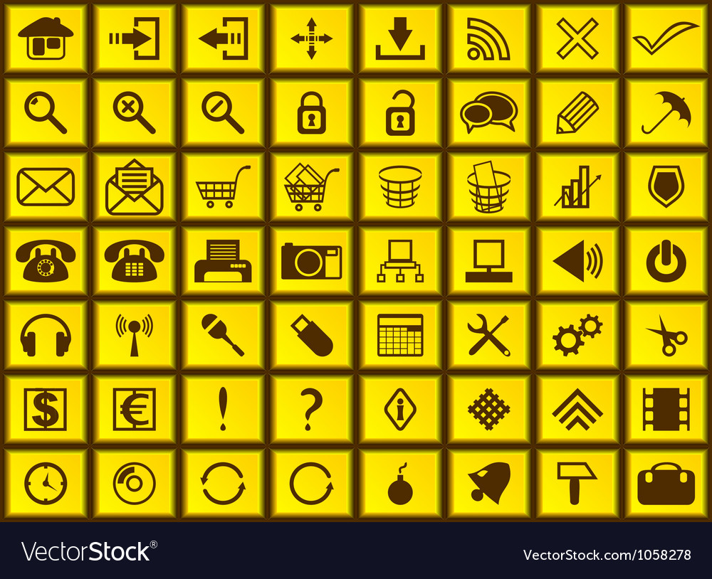 Yellow web icons vector