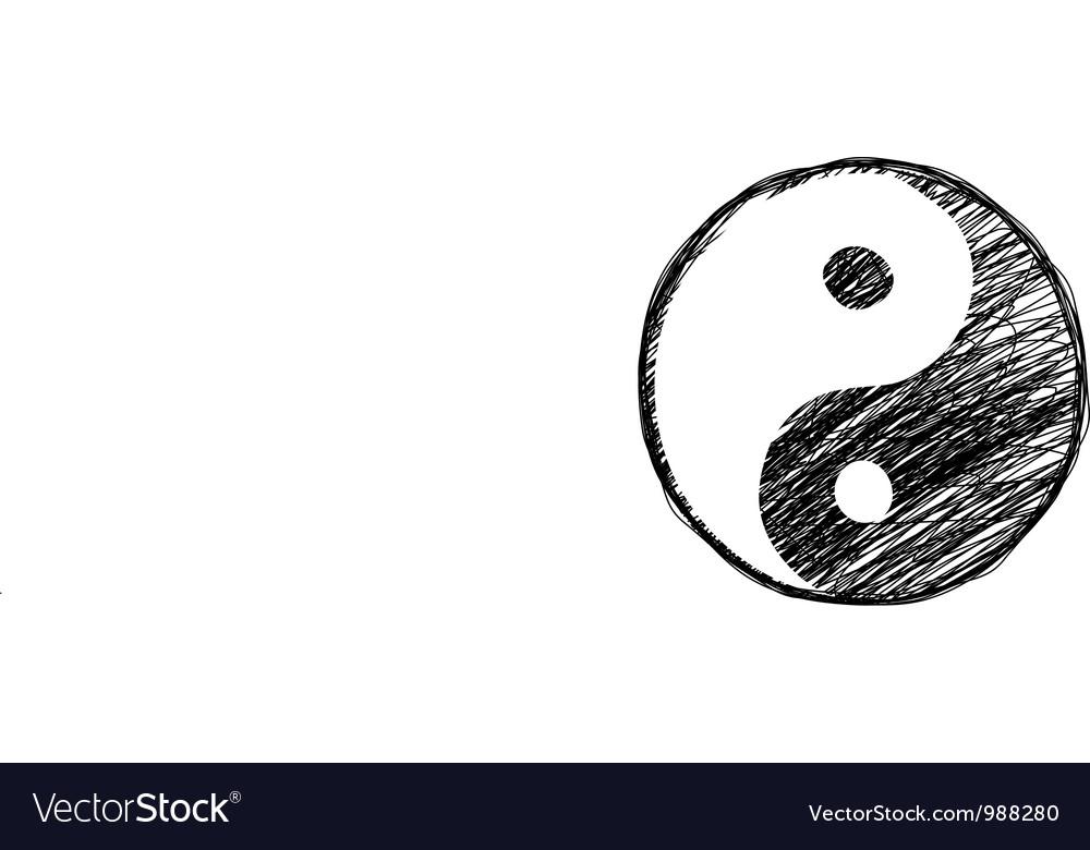 Doodle yinyang symbol vector