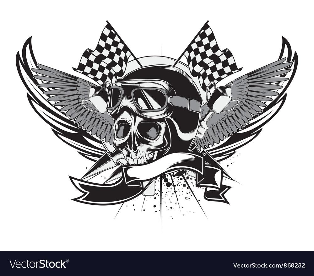 Vintage emblem with skull vector