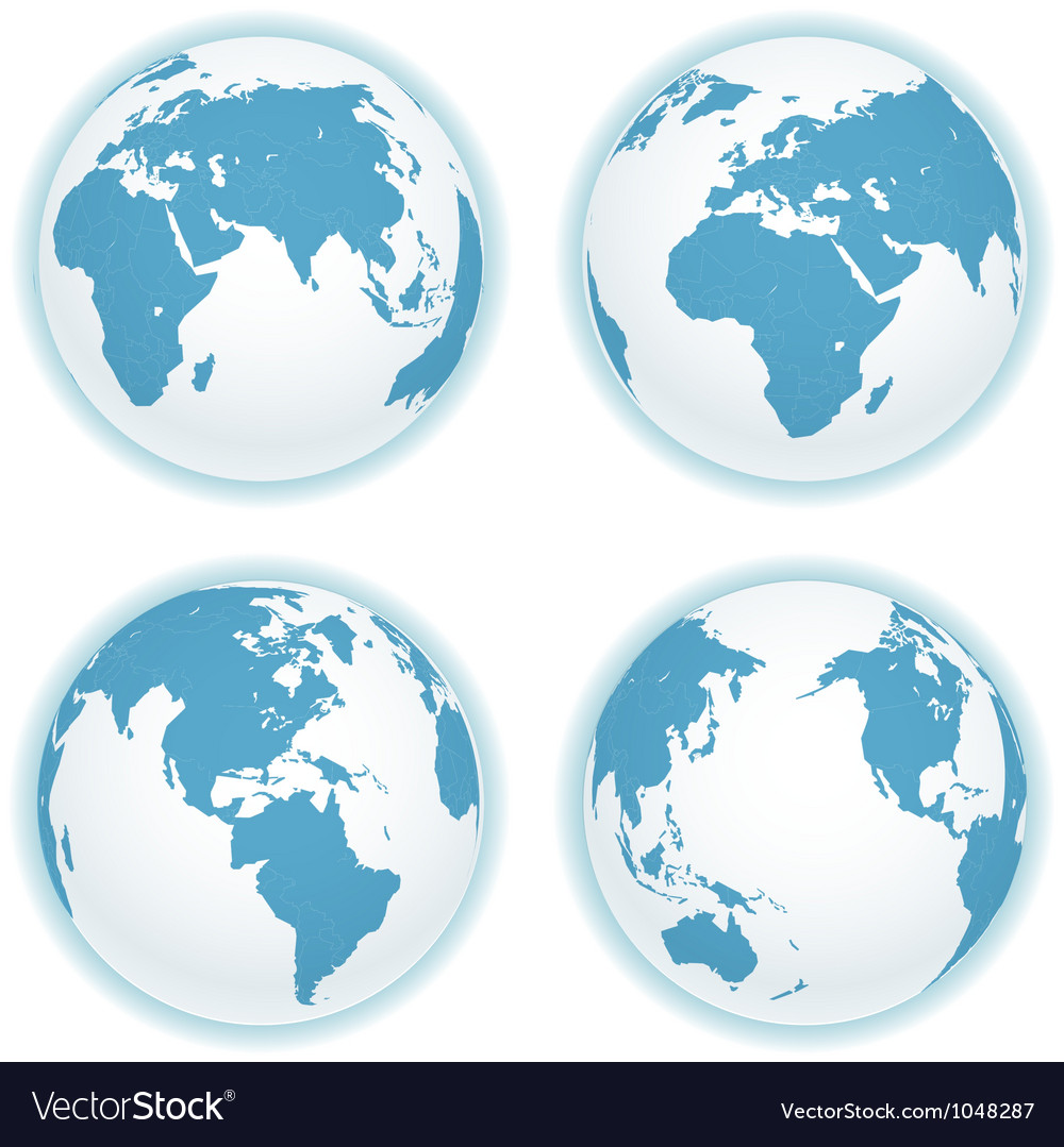 Earth map scheme isolated on white collection vector