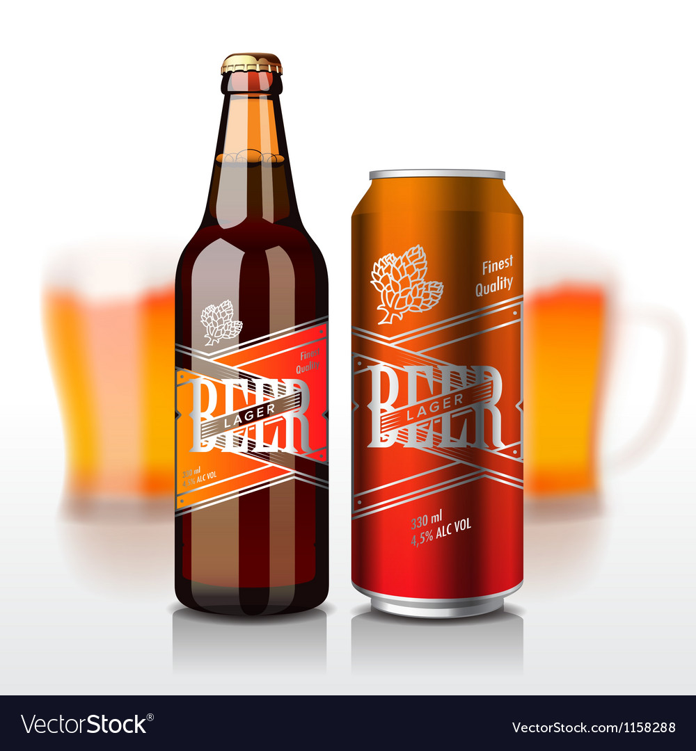 Beer bottle and can vector