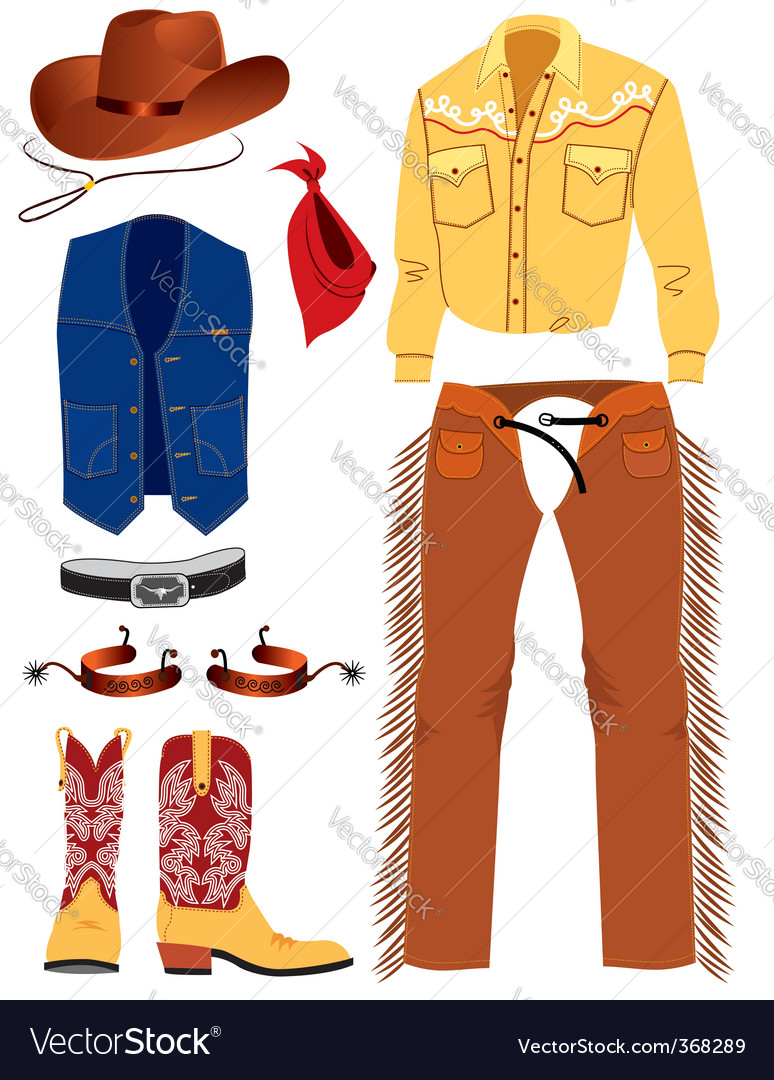 Cowboy clothes vector