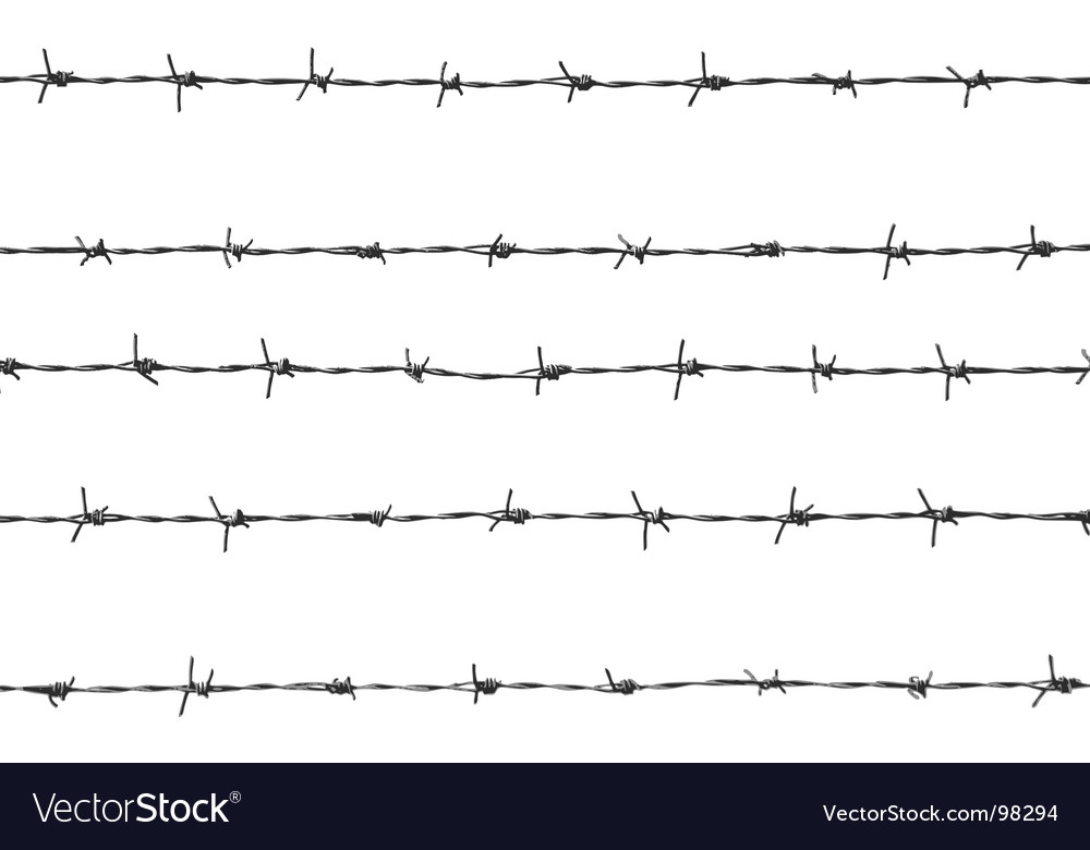 Five pieces of barbed wire vector