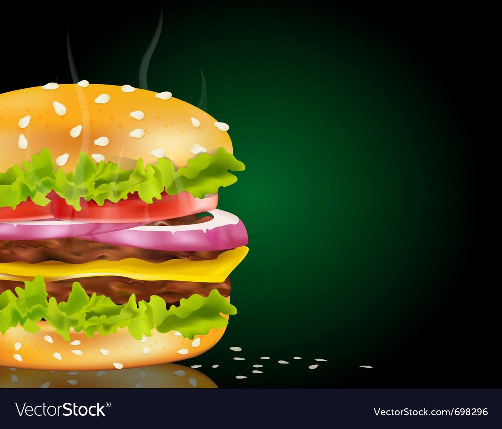 Steaming cheeseburger background vector