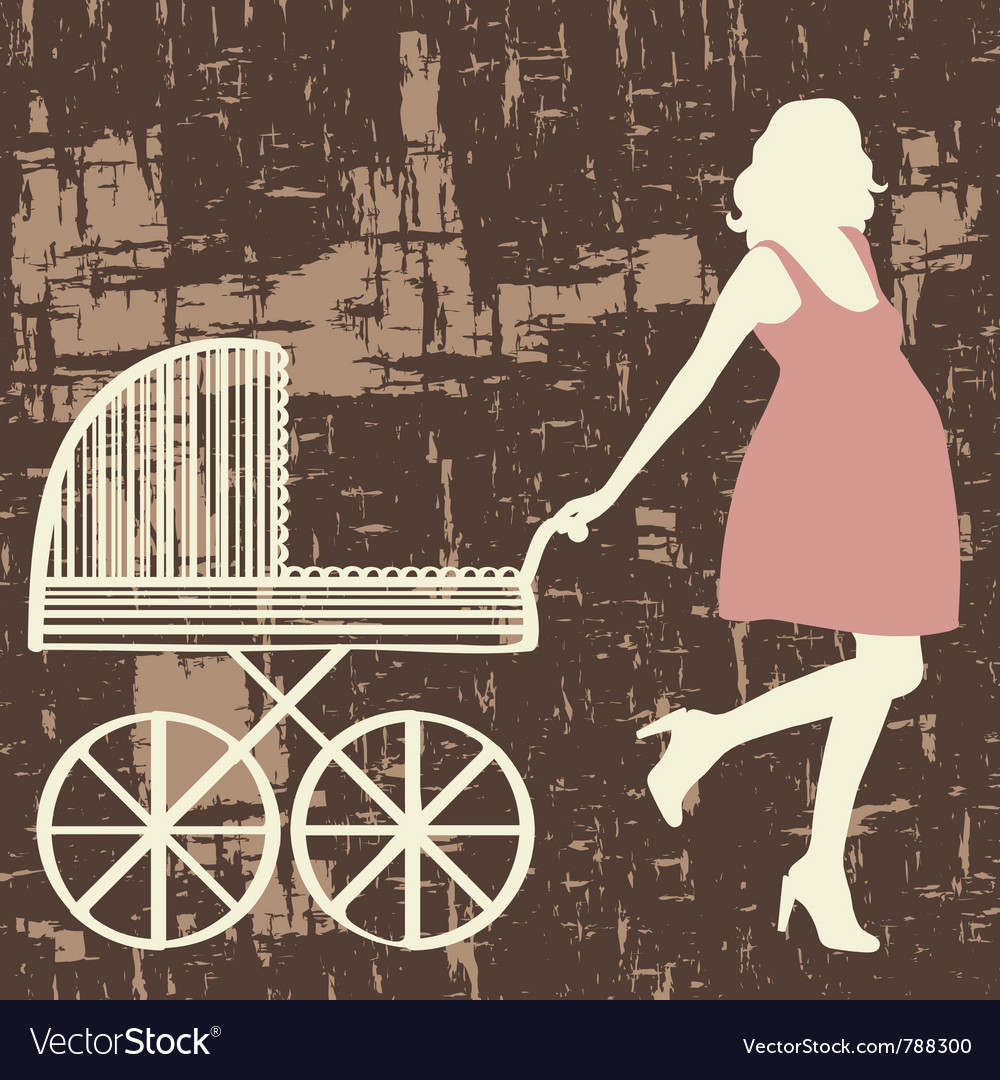 Pregnant woman with carriage vector