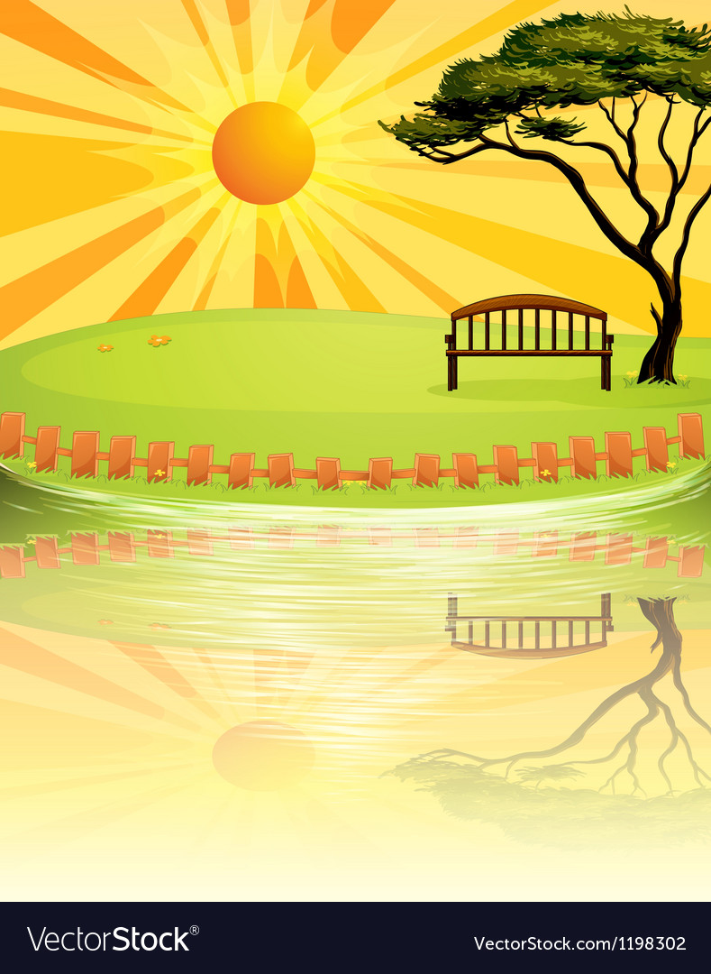 A sunset at the park vector