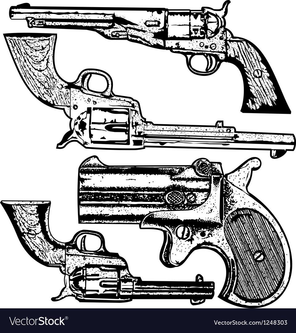 Grunge pistols set vector