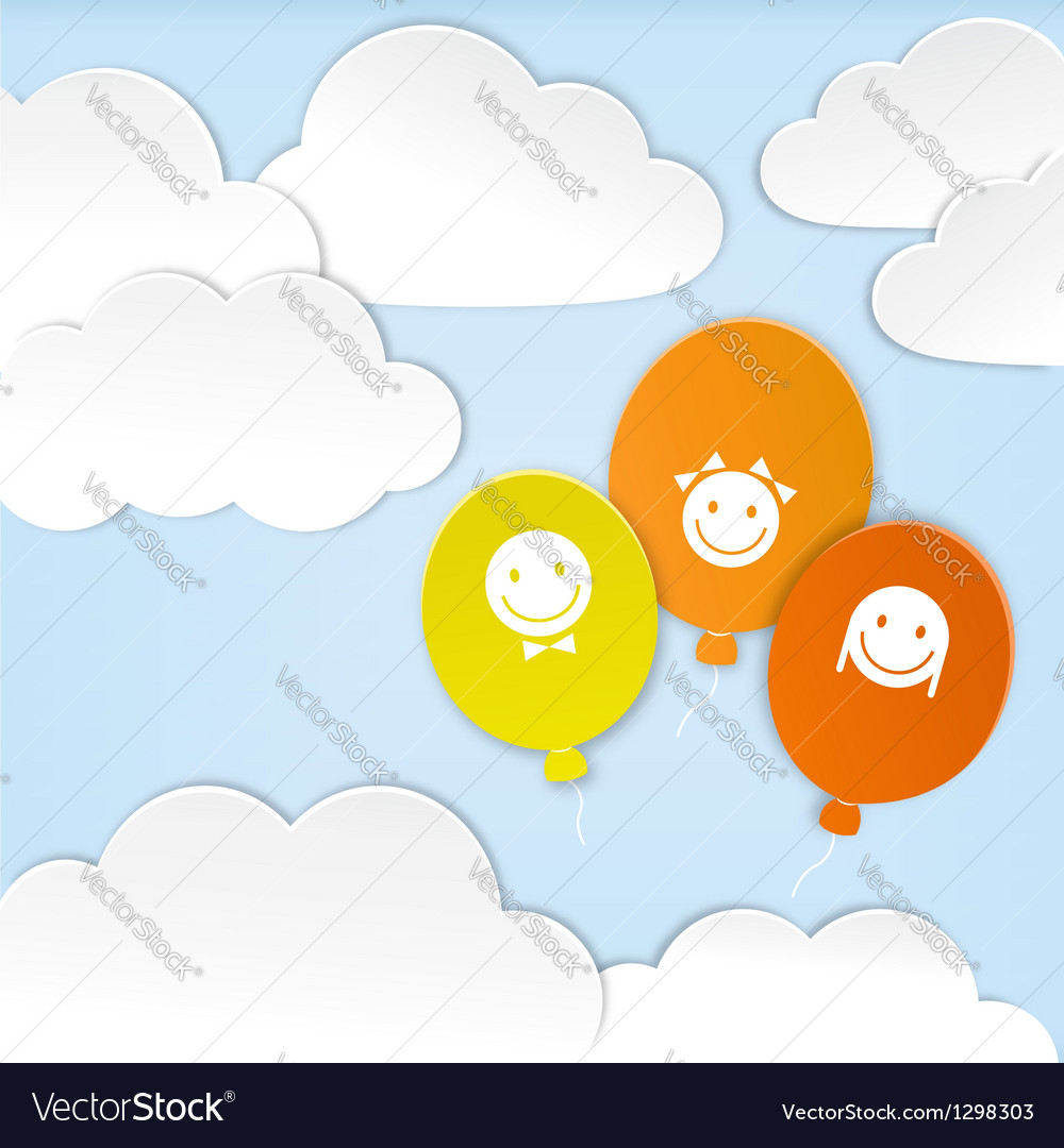 Paper clouds with balloons vector