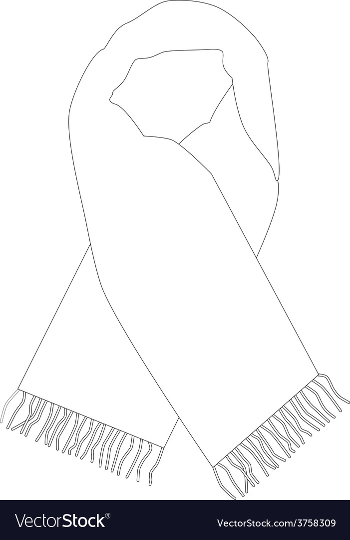White Winter Scarf Outline Drawings Vector By