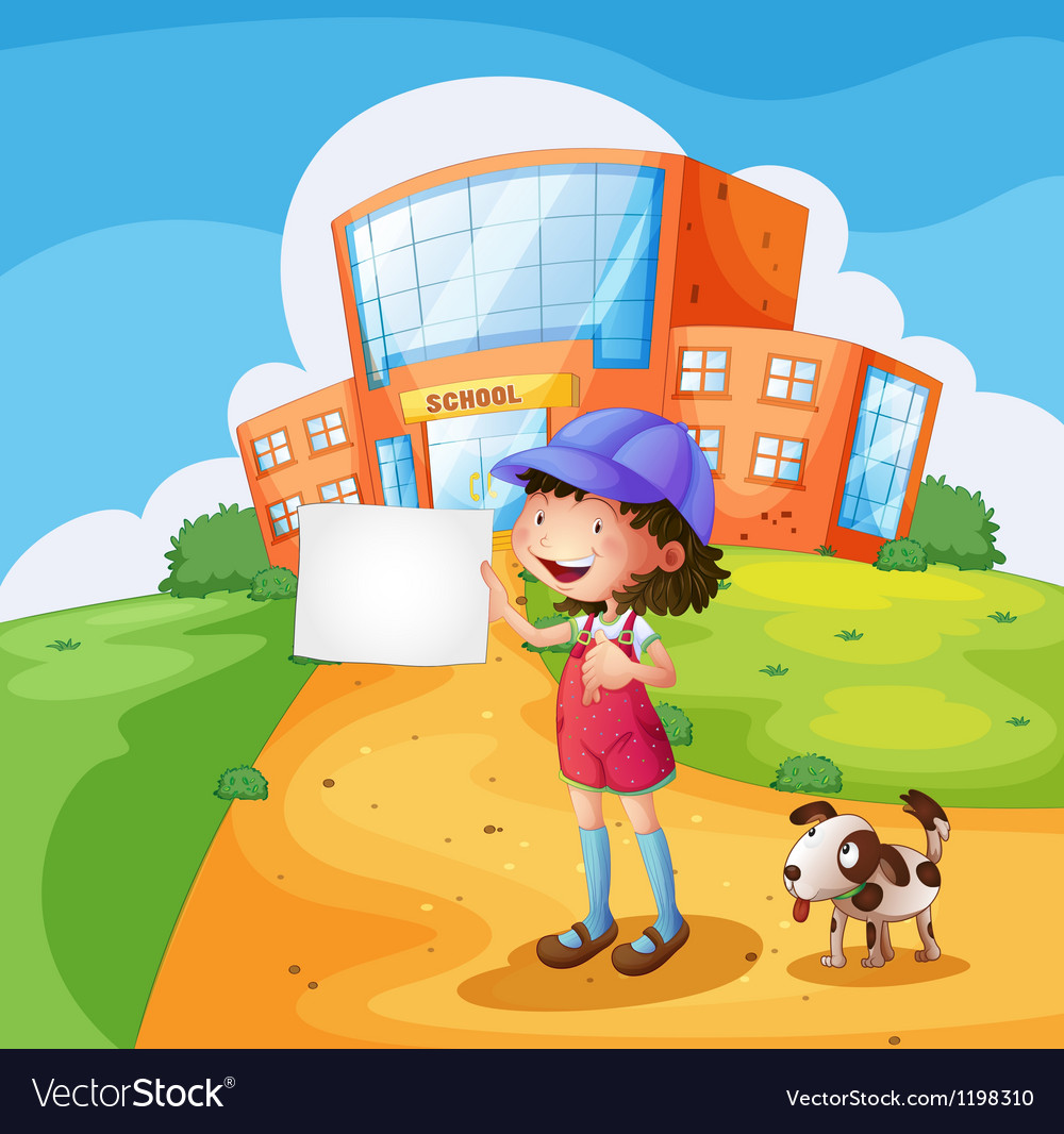 A child with a piece of paper standing in front of vector