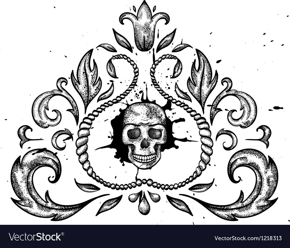 Design element with skull and leaves vector