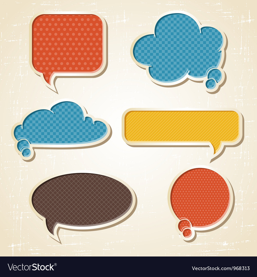 Origami speech bubbles set vector