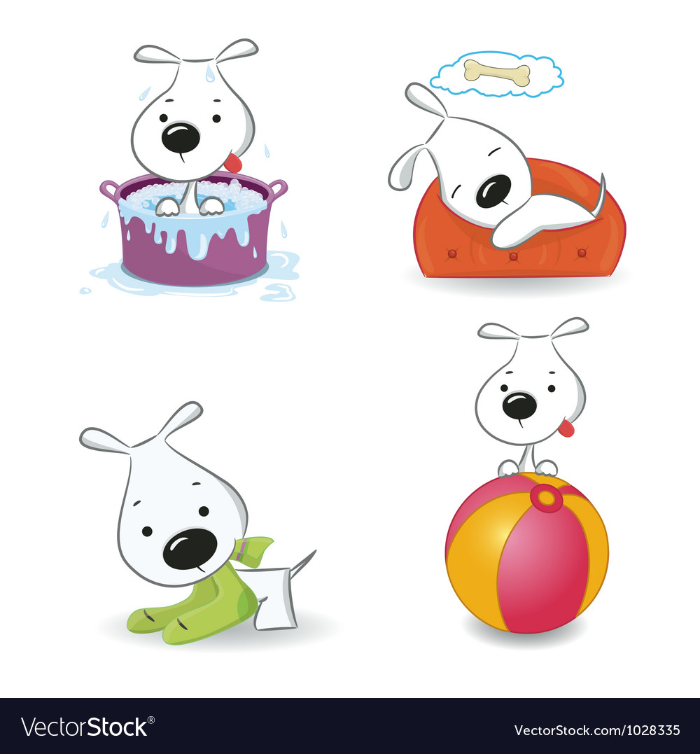 Puppy dog set vector