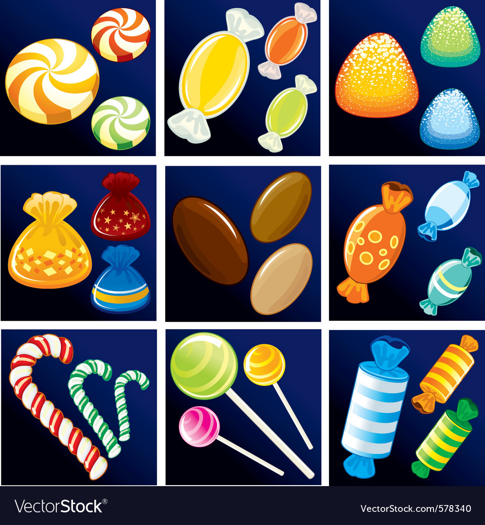 Collection of various motley candies vector