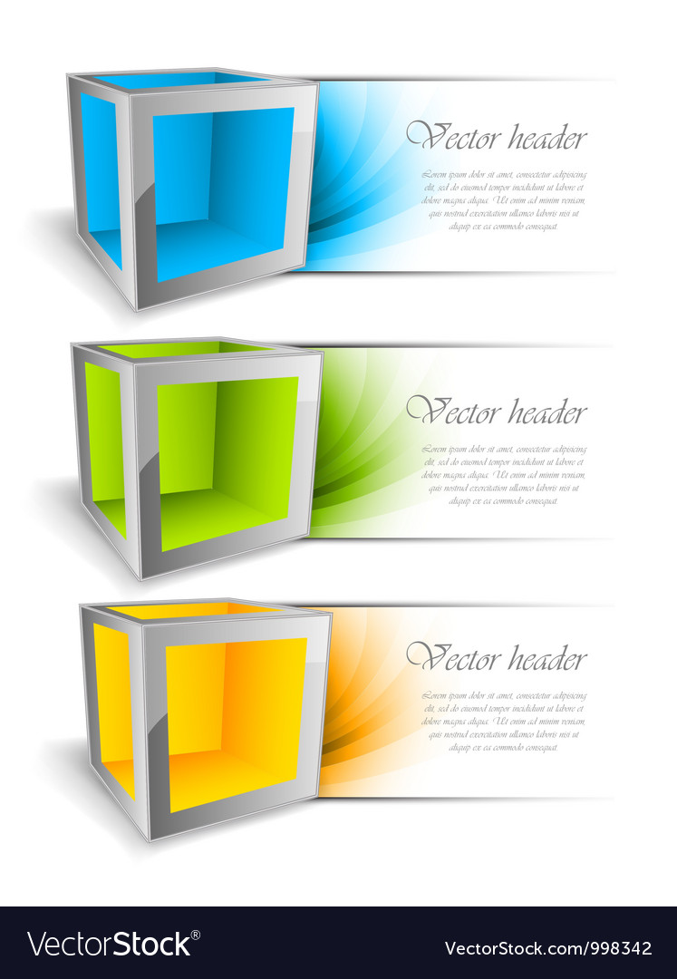 Set of banners with cubes vector