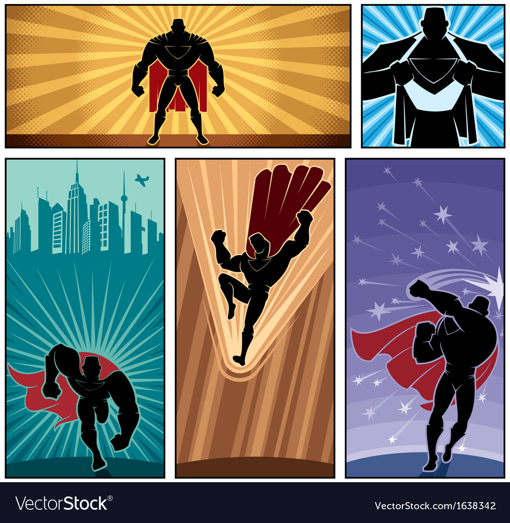 Superhero banners 2 vector