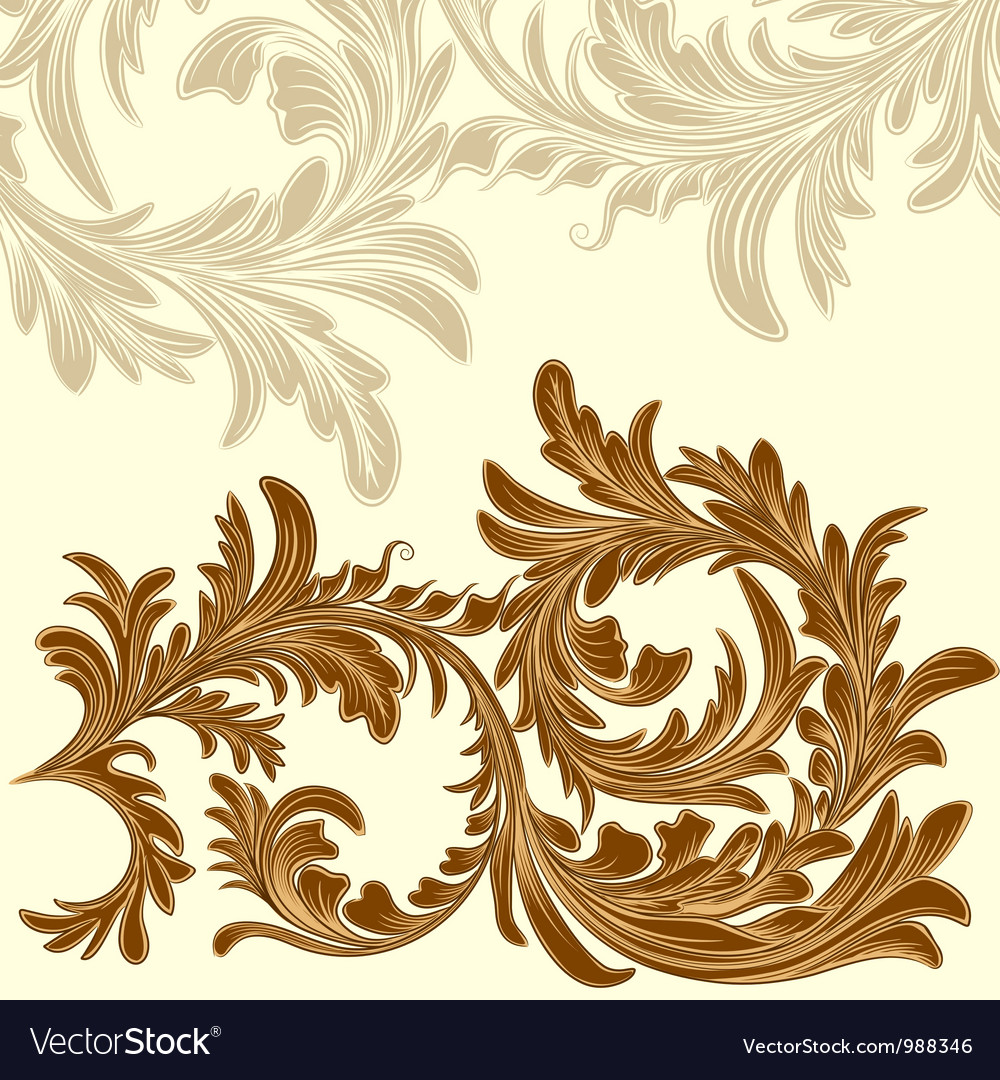 Vintage background with calligraphic detailed vector