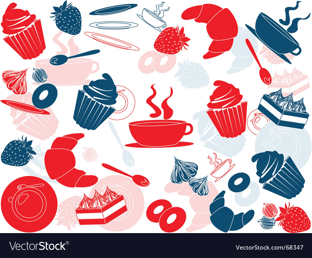 French food pattern vector