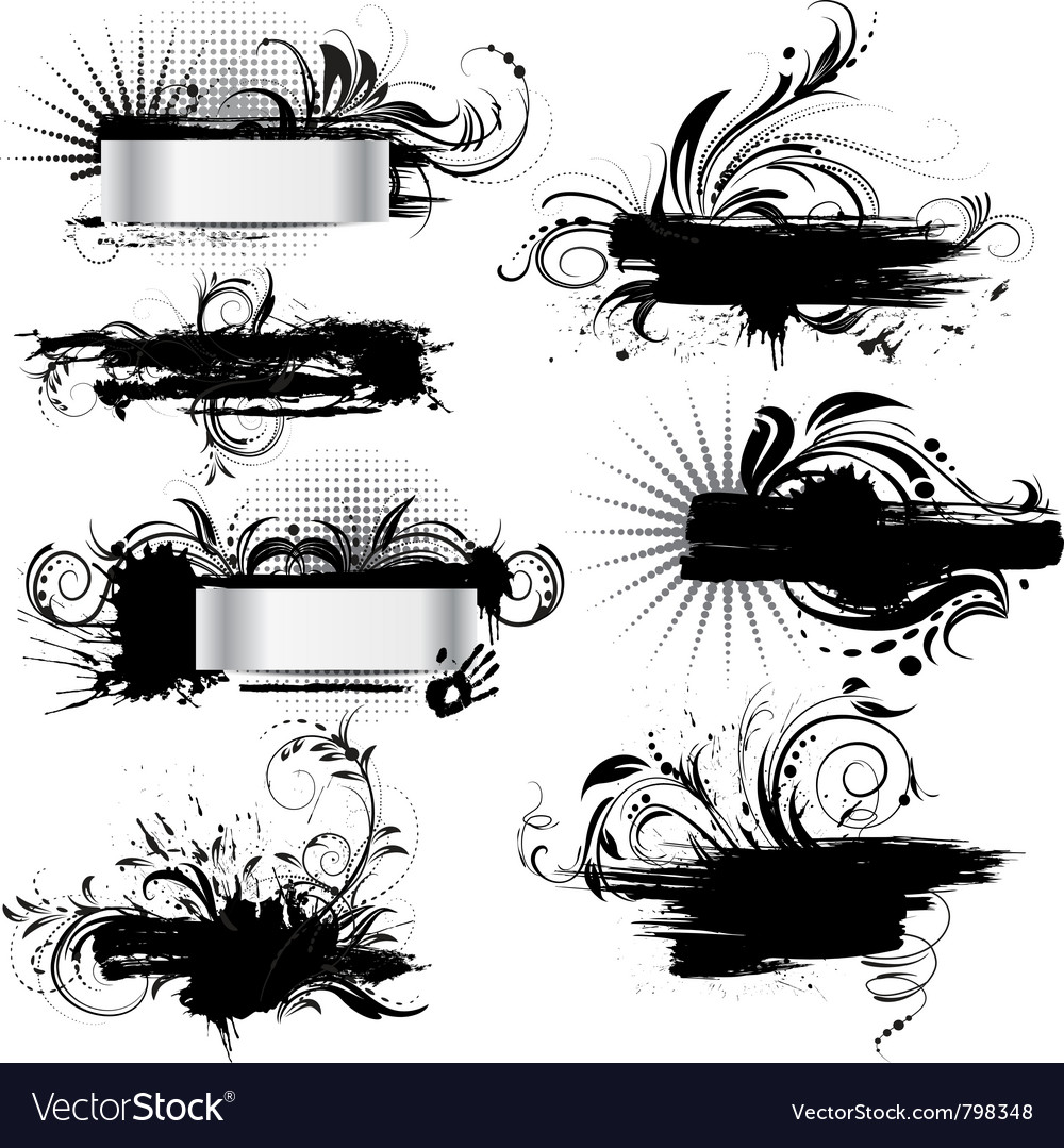 Set of grunge banners vector