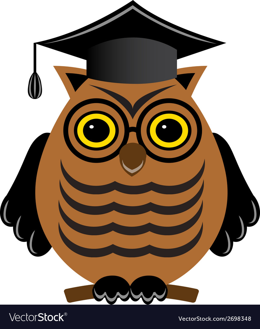 Wise owl with glasses and a graduate hat vector