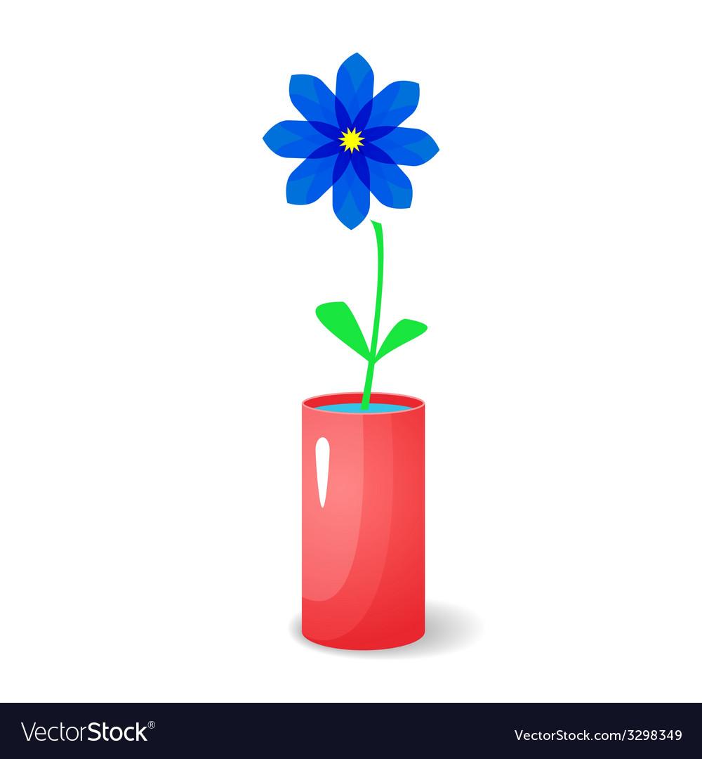 Single flower in vase vector