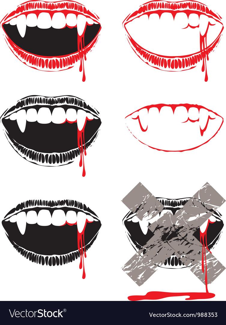 Vampire lips vector
