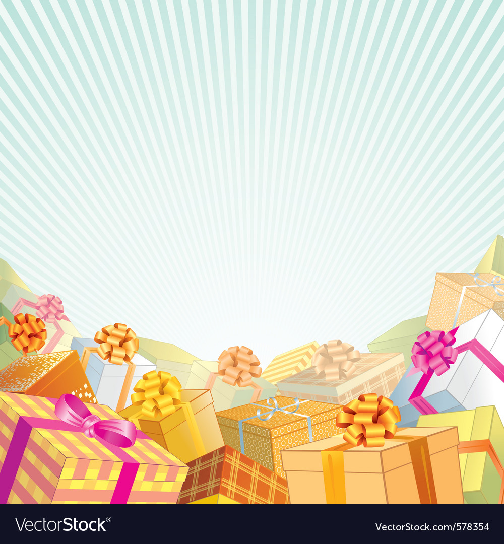 Background with stack of gift boxes vector