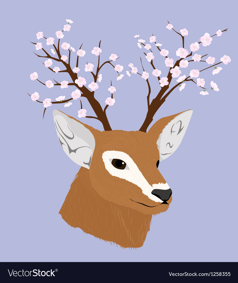 Deer with flowerinf horns vector