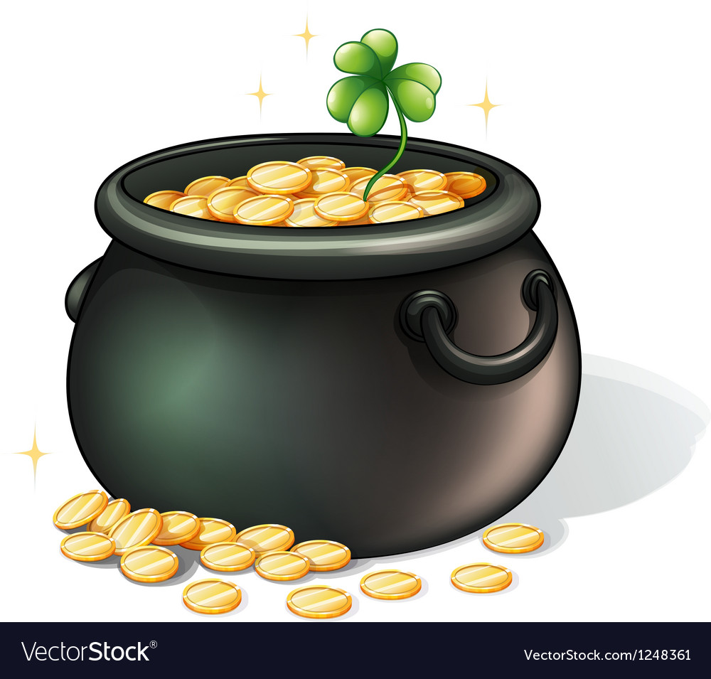 A black pot with coins vector