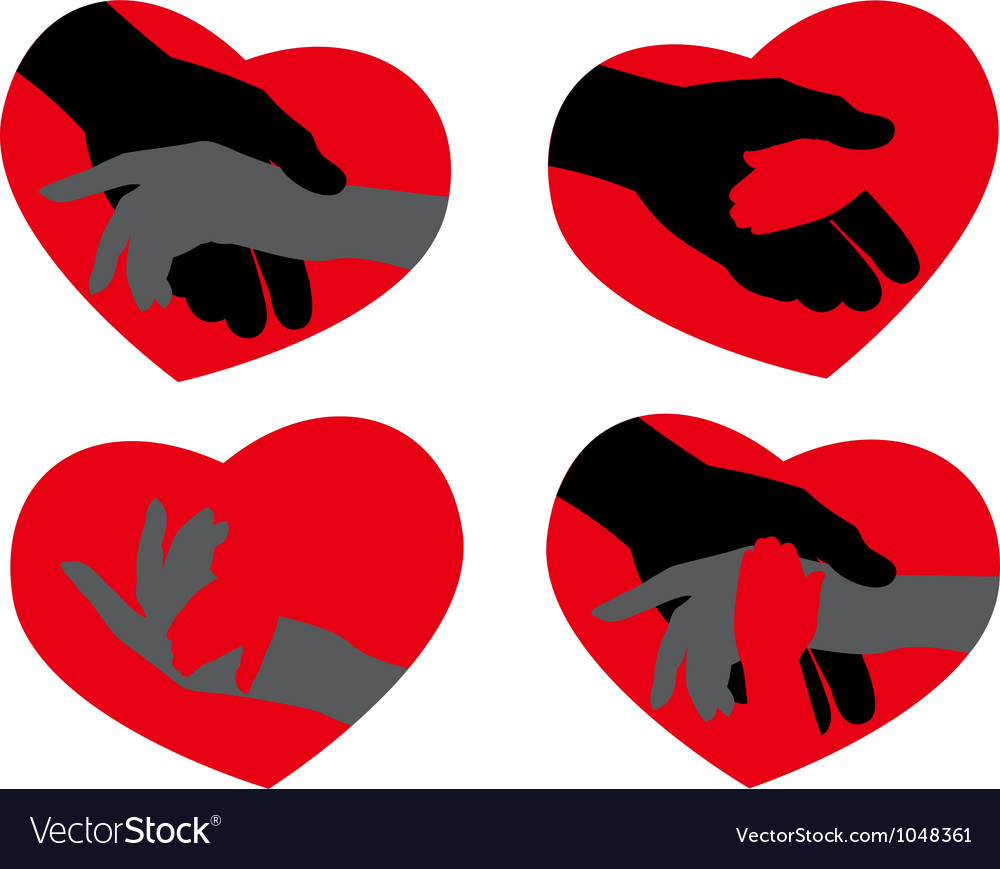 Icons hand to heart vector