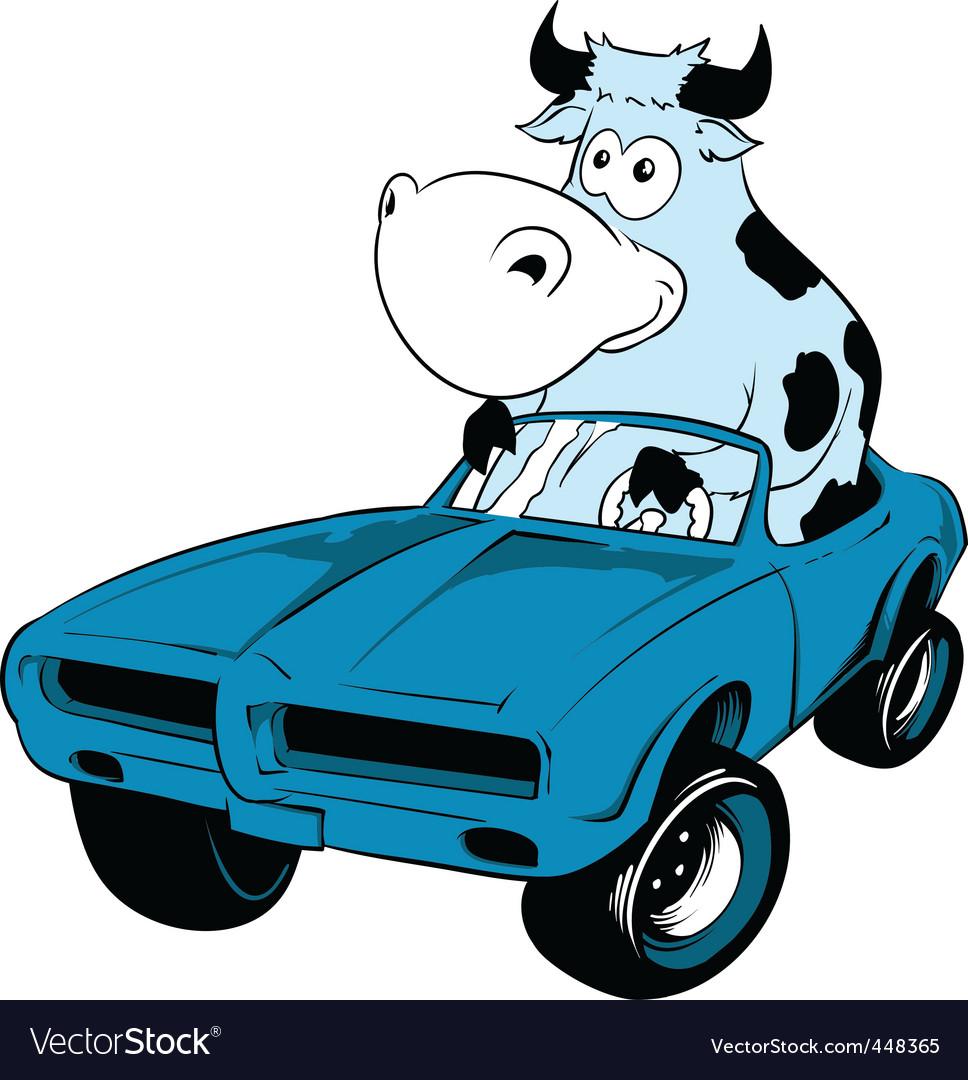 Cow driving a car mascot vector