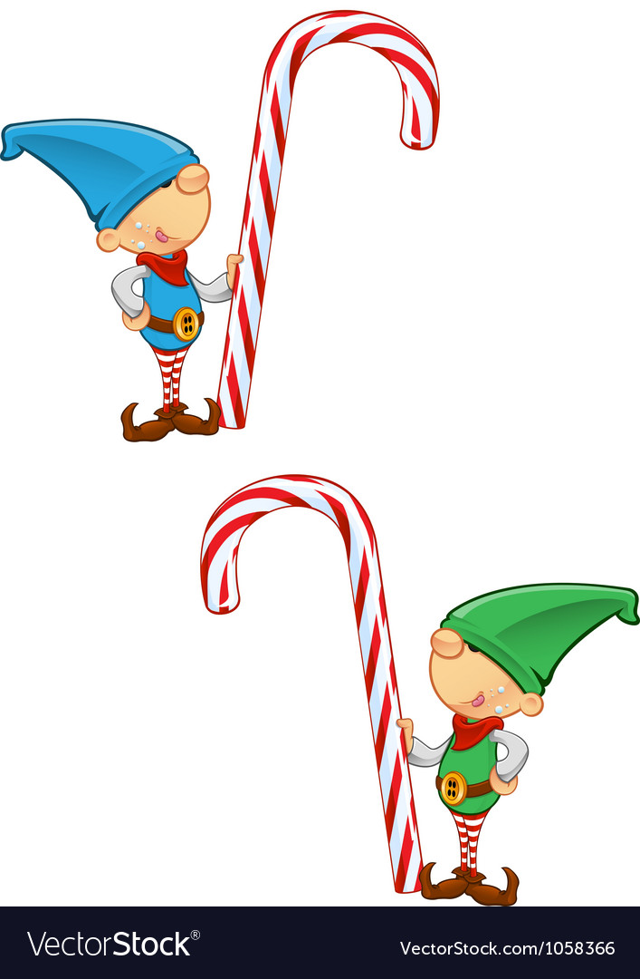 Elf mascot holding candy cane vector