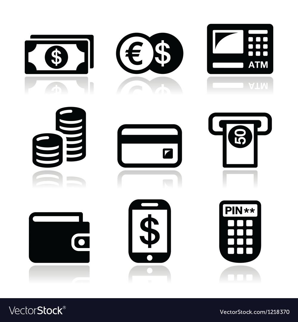 Money atm - cash mashine icons set vector