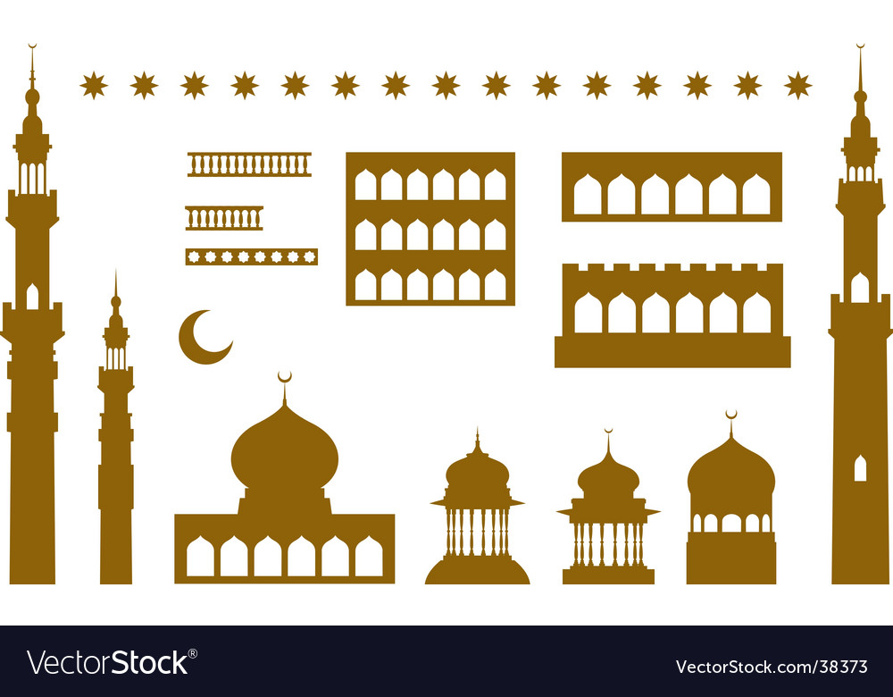 Arabic temple elements vector