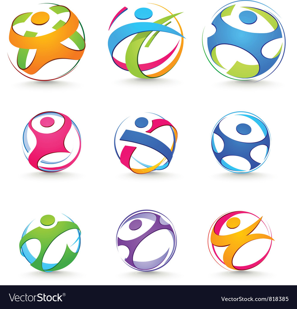 Sports icons of people vector