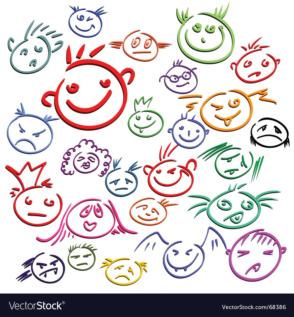 Smile face set vector