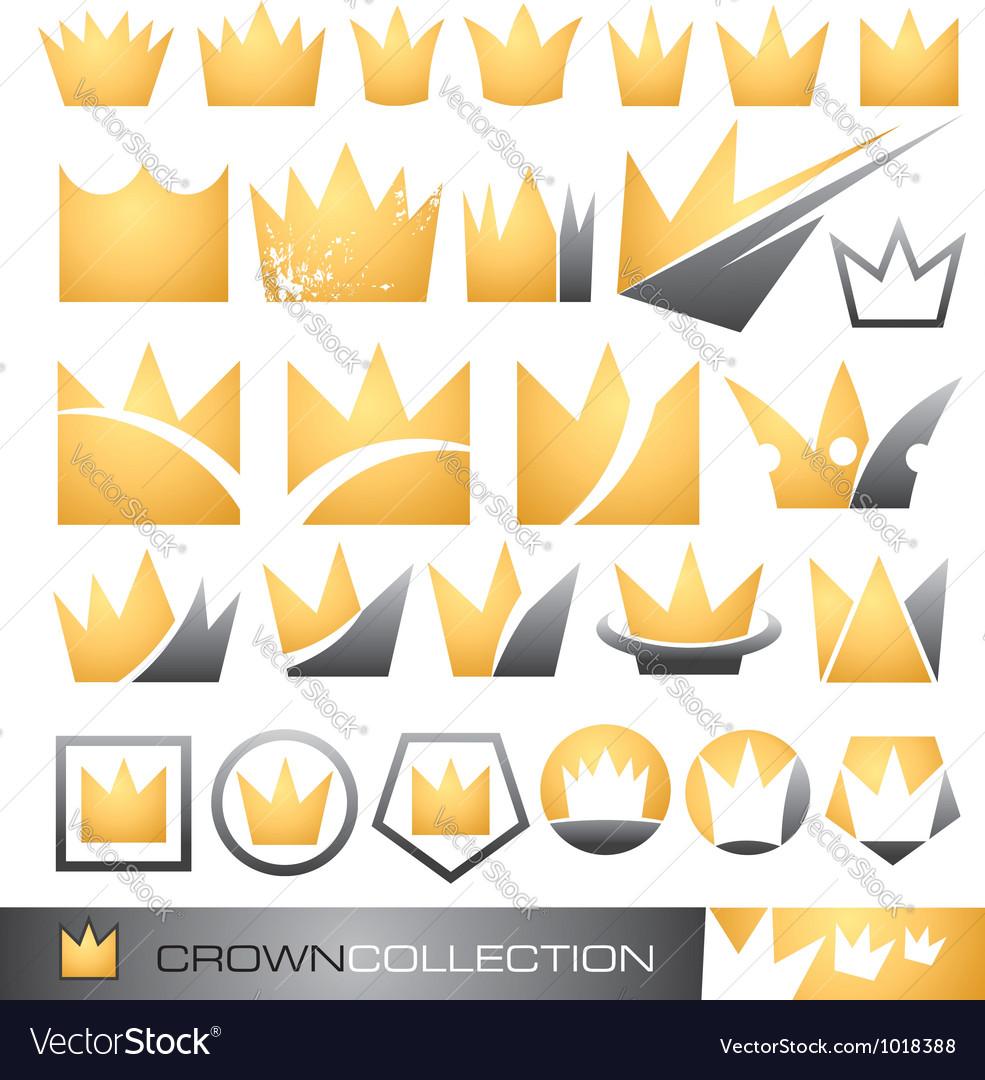 Crown symbol and icon set vector