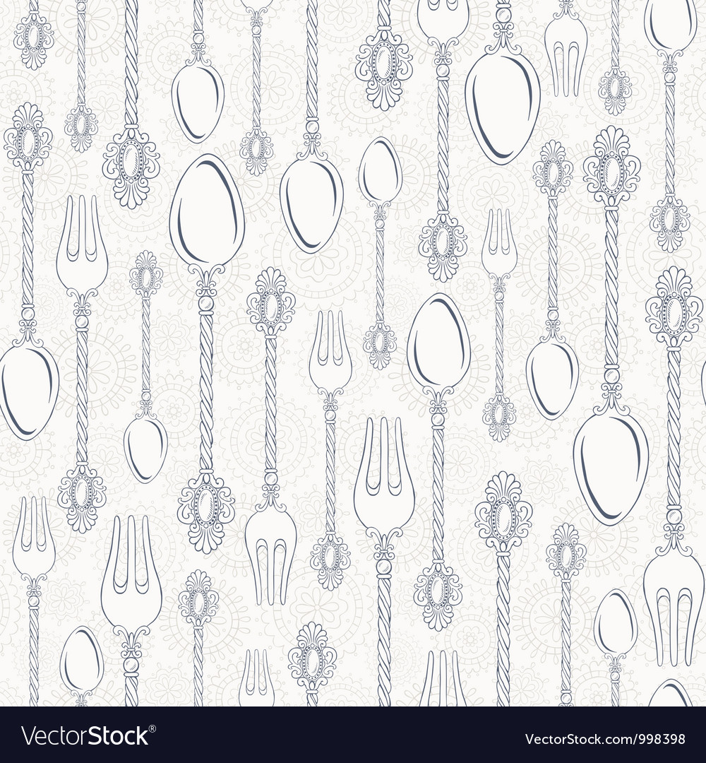 Retro spoons and forks seamless pattern vector