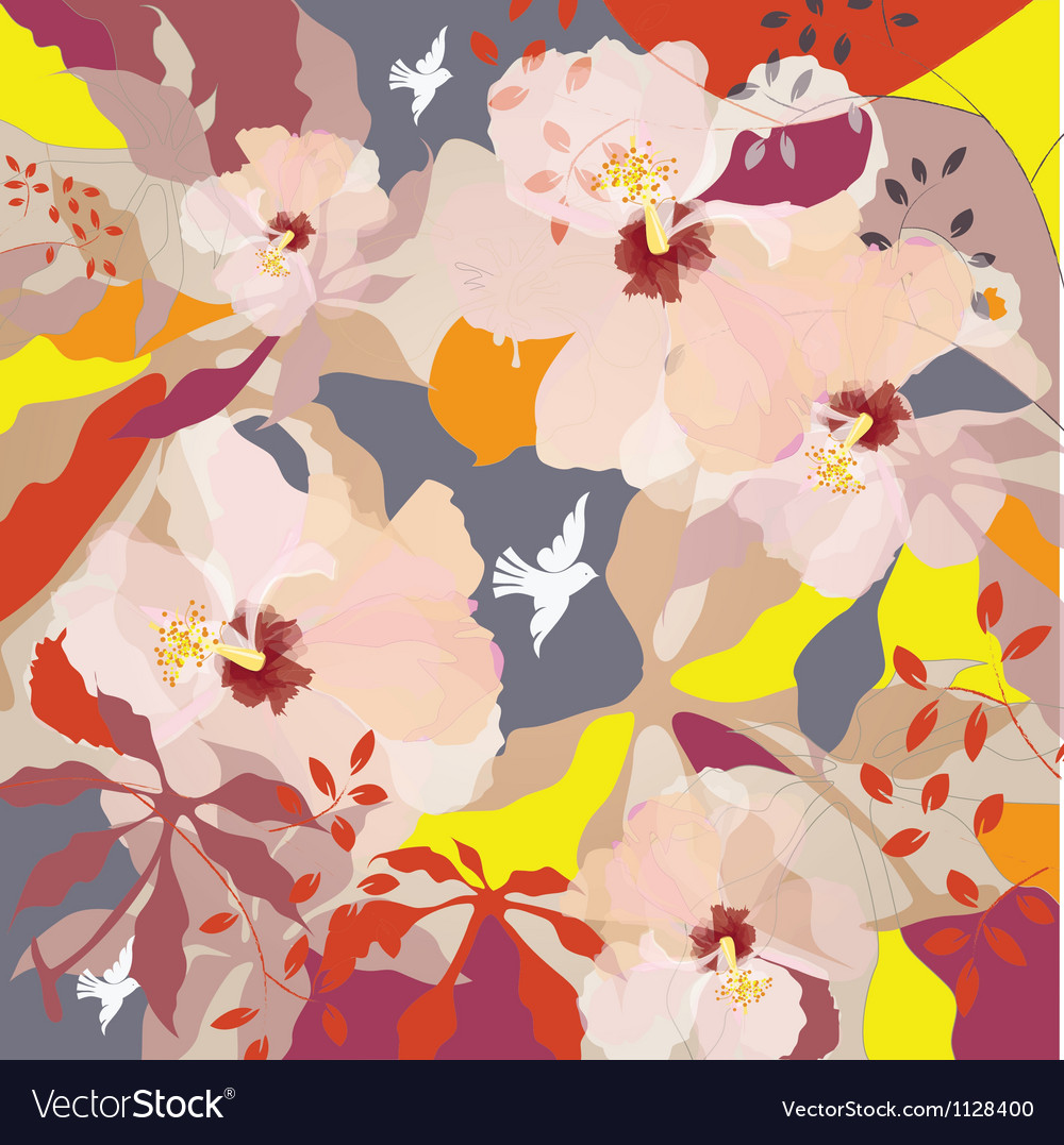 Poster with birds and flowers vector