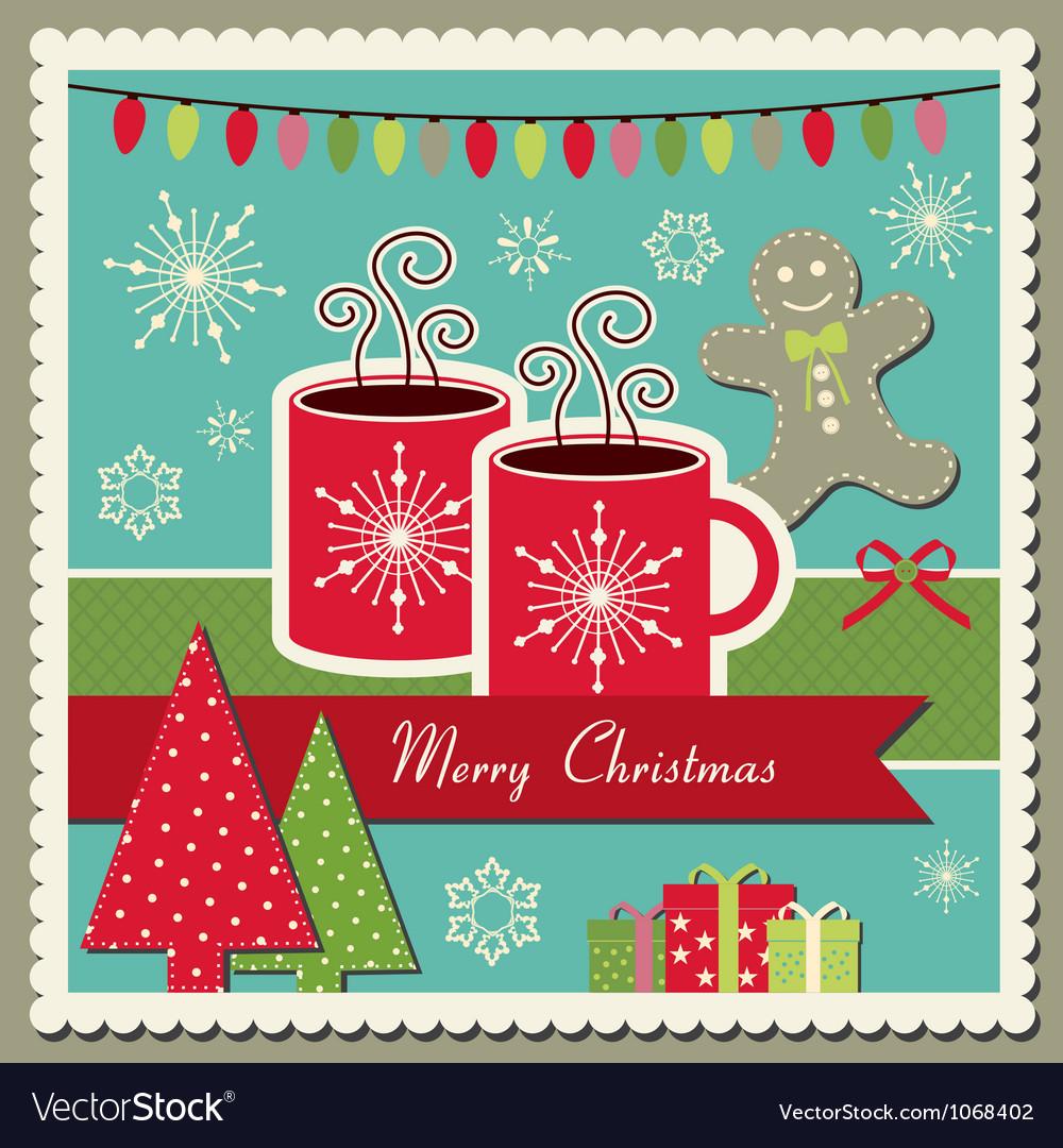 Hot chocolate christmas card vector