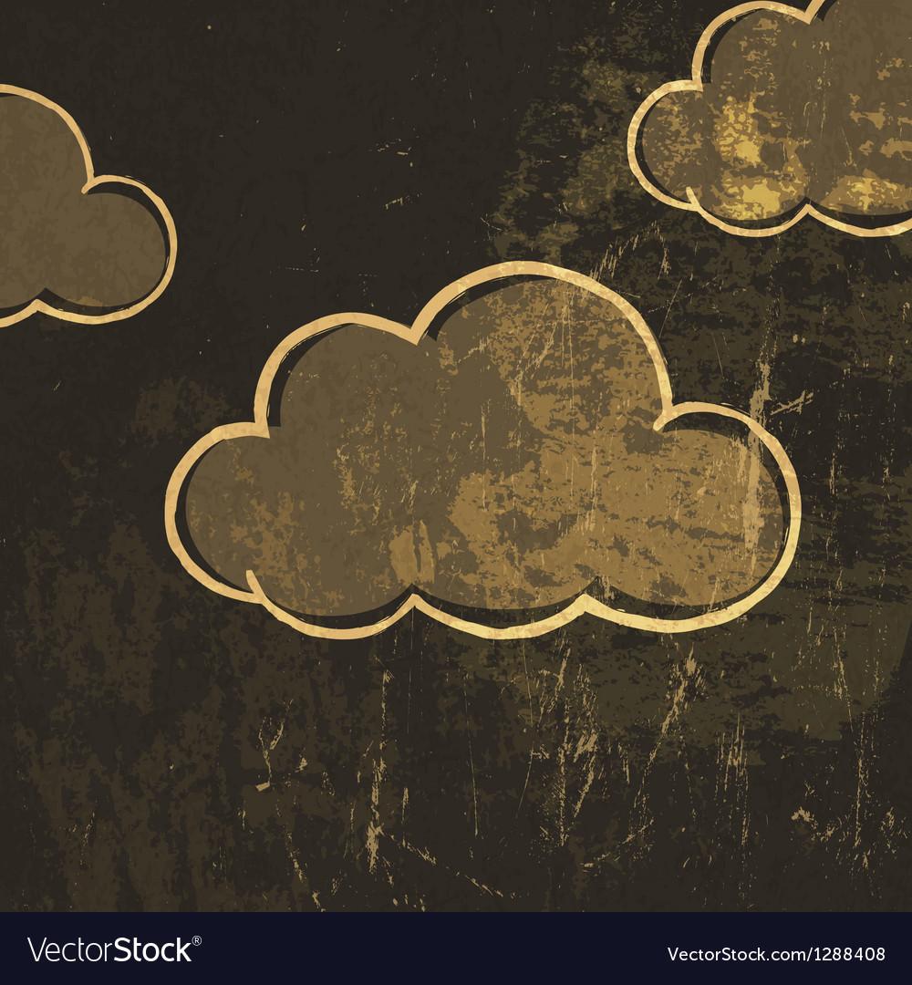 Grunge clouds background vector