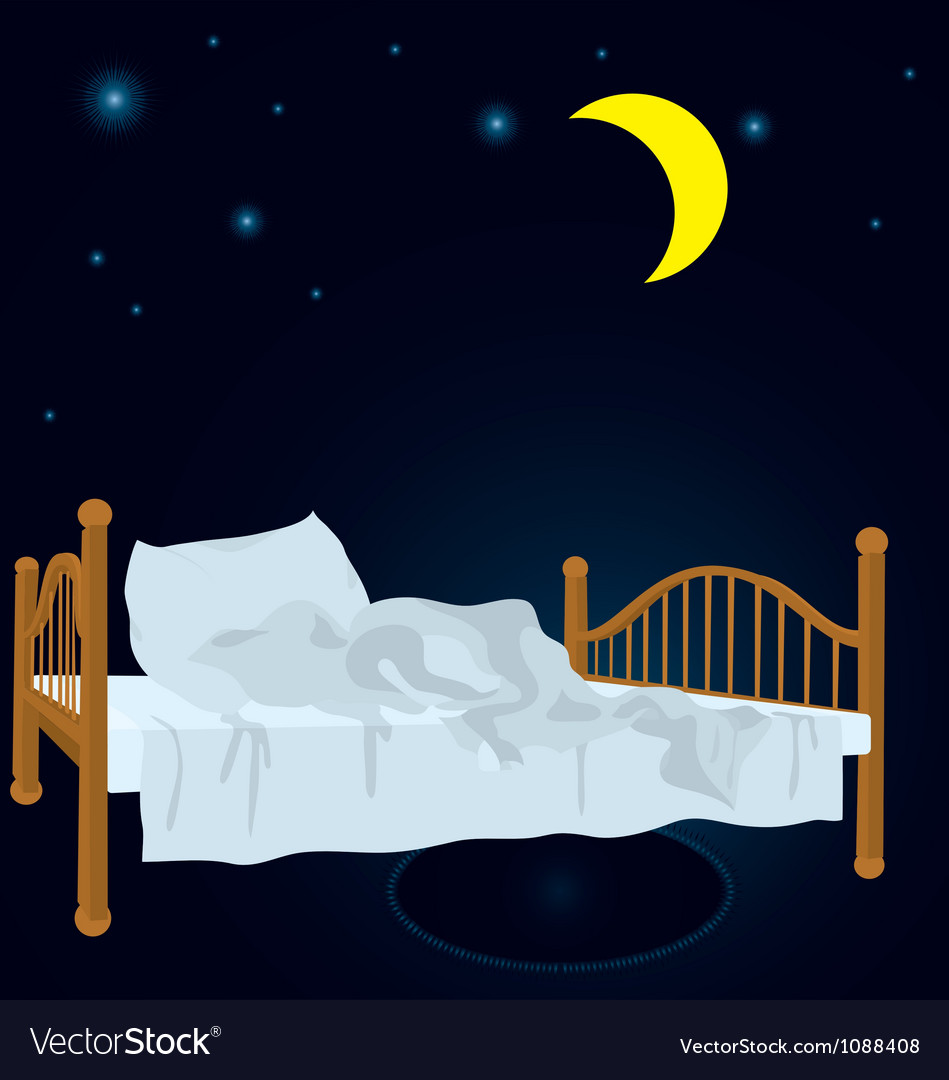 Unmade bed under moon vector